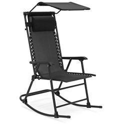 Best Choice Products Foldable Zero Gravity Rocking Patio Recliner Chair w/ Sunshade Canopy ̵ ...
