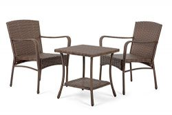 W Unlimited Leisure Collection Garden Patio Furniture Round Core Wicker Outdoor Furniture Bistro ...