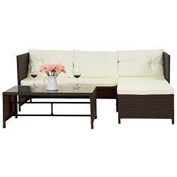 3-Piece Outdoor Patio Furniture Rattan Wicker Sofa and Chaise Lounge Set Mix Brown