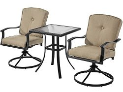 Patio Bistro Set Seats 2 Cushioned Swivel Chairs Outdoor Small Space Deck Porch (Tan)