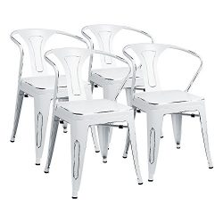 Furmax Metal Chairs With Arms Distressed Style Dream White Indoor/Outdoor Use Stackable Chic Din ...
