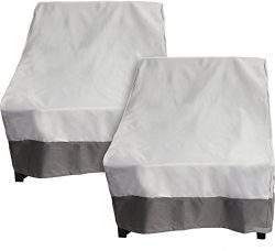 2 Pack Deep Chair Patio Cover – Outdoor Furniture Cover (Grey w/ Dark Grey Trim)