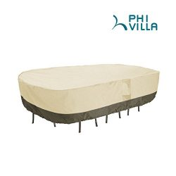PHI VILLA Veranda Rectangular Patio Table & Chair Set Cover – Durable and Water Resist ...