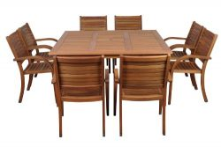 Amazonia Arizona 9-Piece Eucalyptus Square Dining Set