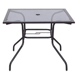 Giantex 37 1/2″ Square Dining Table Glass Top Deck Patio Yard Garden Outdoor Furniture (Gl ...