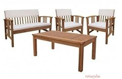 Durable Four Piece Wood Deep Seating Patio Furniture Set Indoor Outdoor Conversation or Chat Set ...