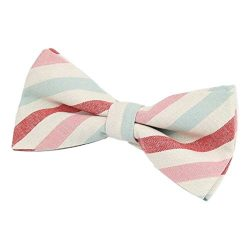 Gazebo Green Pre-Tied Linen Striped Bow Tie (Choose your Color ) (Candy Stripe)