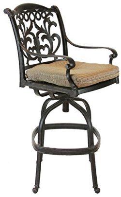 K&B PATIO LD1238-7 Mandalay Bar Chair with Cushion, Antique Bronze