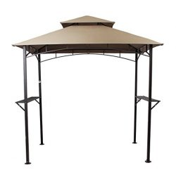 PHI VILLA 8'x 5′ Outdoor Soft Top Grill Gazebo Patio Double-Tier BBQ Canopy, Brown