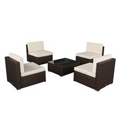 U-max 7 Piece 3-7 Pieces Patio PE Rattan Wicker Sofa Sectional Furniture Set Outdoor Sofas (5 Pi ...