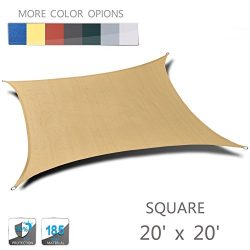 LOVE STORY 20′ x 20′ Square Sand UV Block Sun Shade Sail Perfect for Outdoor Patio G ...