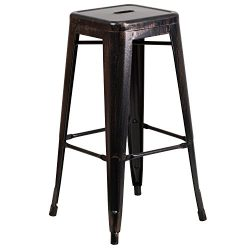"""Flash Furniture 30"""" High Backless Black-Antique Gold Metal Indoor-Outdoor Barstool with Sq ..."""
