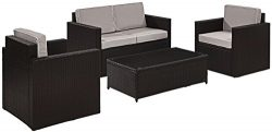 Crosley Furniture Palm Harbor 4-Piece Outdoor Wicker Conversation Set with Grey Cushions – ...