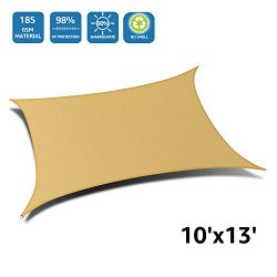 Doeworks Rectangle 10′ X 13′ Sun Shade Sail, UV Block for Outdoor Patio Garden in Co ...