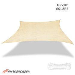 Shade Screen 10′ x 10′ Sun Shade Sail for Patio Backyard Deck UV Block Fabric &#8211 ...