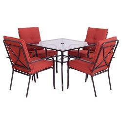 Giantex 5 Piece Patio Furniture Set Glass Table & 4 Cushioned Chairs Garden Pool Yard (5 Pie ...