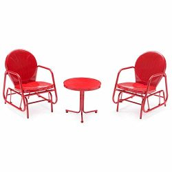 Vintage Single Glider Chat Set (Red) for patio outdoor/backyard furniture single seat glider wit ...