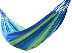 Buffalo Double Wide Hammock Cotton Fabric Travel Camping Hammock 2 Person 450lbs Blue/green/dark ...