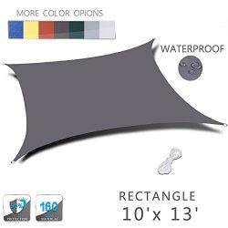 LOVE STORY 10'x 13′ Rectangle Charcoal Waterproof Sun Shade Sail Perfect for Outdoor ...