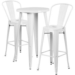 "Flash Furniture 24"" Round White Metal Indoor-Outdoor Bar Table Set with 2 Cafe Stools"