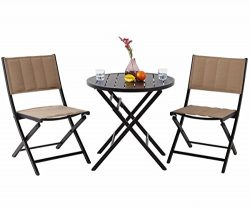 PHI VILLA Indoor Outdoor 3 Pcs Folding Bistro Set- Patio Porch Oversize Padded Dining Chairs and ...