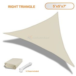 Sunshades Depot 5x5x7 Right Triangle Waterproof Knitted Shade Sail Curved Edge Beige 180 GSM UV  ...