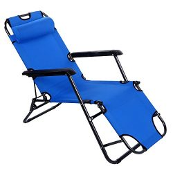 Yuebo Chaise Lounge Chair Outdoor Patio Folding Recliner Portable Camping Sleeping Cot with Adju ...