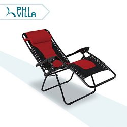 PHI VILLA Padded Zero Gravity Lounge Chair Patio Foldable Adjustable Reclining for Outdoor Yard  ...