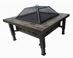 Global Outdoors 34-in Adjustable Leg Square Slate Top Fire Pit with Spark Screen, Weather Resist ...