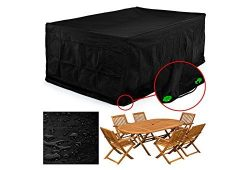 FEMOR Rectangular Patio Table & Chair Set Cover, Durable and Water Resistant Fabric Outdoor  ...