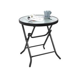Captiva Designs 18″ Patio Metal Side Table with Tempered Glass Tabletop Outdoor Backyard B ...