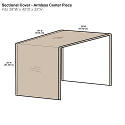Protective Covers Inc. Modular Sectional Sofa Cover, Armless Center Piece, 28″W x 40&#8243 ...
