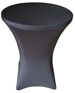 32 Round x 43″ Tall Spandex Fitted Table Cover for Folding Bar Height Tables (Black)