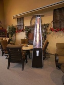 AZ Patio Heaters Resort Model 40,000 BTU 4-Sided Pyramid Style Glass Tube Flame Patio Heater in  ...