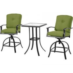 Mainstays Belden Park 3-Piece Swivel High Bistro Set with Plush reversible cushions with Velcro  ...