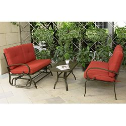 Cloud Mountain 3 Piece Cushioned Outdoor Furniture Garden Patio Conversation Set, Wrought Iron C ...