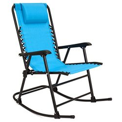 Best Choice Products Folding Rocking Chair Foldable Rocker Outdoor Patio Furniture (Light Blue)