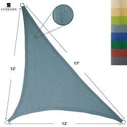 LyShade 12′ x 12′ x 17′ Right Triangle Sun Shade Sail Canopy (Cadet Blue) &#82 ...