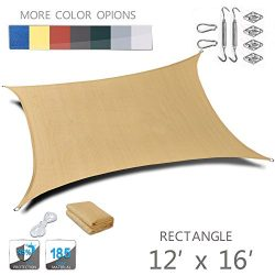 LOVE STORY 12′ x 16'Rectangle Sand UV Block Sun Shade Sail with Stainless Steel Hard ...