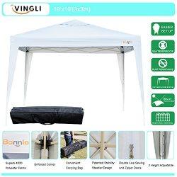 VINGLI Bonnlo Heavy Duty 10′ x 10′ Ez Pop Up Canopy Tent with 4 Removable Sidewalls  ...