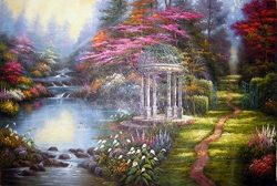 AMountletstore the garden of prayer a gazebo flower footpath stream Thomas Kinkade rural landsca ...