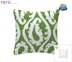 Indoor/Outdoor Throw Pillow with Insert 18×18 Inches Decorative Square Green Cushion Covers ...