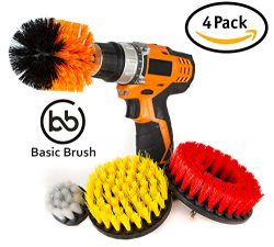 BasicBrush Drill Brush Attachment Kit – Stiff Medium Soft Nylon Bristle – Turbo Spin ...