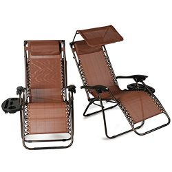 Belleze 2-Pack Zero Gravity Chair w/ Canopy Top Reclining Lounge Chairs Outdoor Patio w/ Cup Hol ...