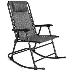 Best Choice Products Folding Rocking Chair Foldable Rocker Outdoor Patio Furniture (Gray)