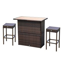 Outsunny 3 Piece Wicker Bar Set Outdoor Patio Rattan Furniture Set Garden Deck