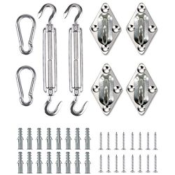 Shade&Beyond Shade Sail Hardware Kit for Rectangle and Square, 6 Inches 316 Marine Grade Sta ...