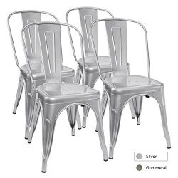 Furmax Metal Dining Chair Tolix Style Indoor-Outdoor Use Stackable Chic Dining Bistro Cafe Side  ...