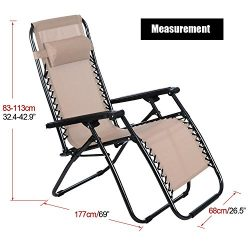 Dtemple Folding Zero Gravity Chairs – Portable Lounge Patio Chairs for Garden Yard Outdoor ...