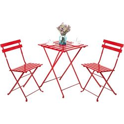 Leisure Zone Outdoor Folding Bistro Set 3 Piece Patio Table and Chairs Set, Metal and Solid Wood ...